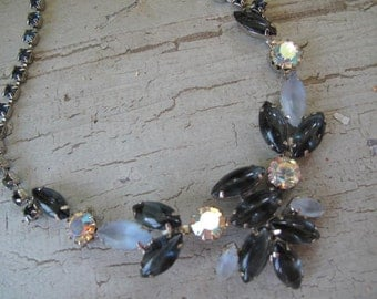 Vintage Blue Gray Rhinestone Necklace