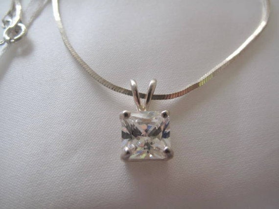 CZ Pendant with Sterling Silver Chain