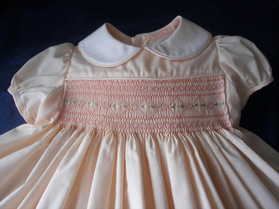 Handsmocked Easter Dress - Peach - Size 18 Month