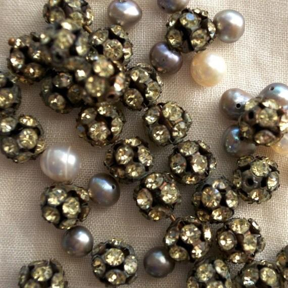 Ball Beads Vintage Brass Rhinestone 8mm Diameter 8 or 20 pieces