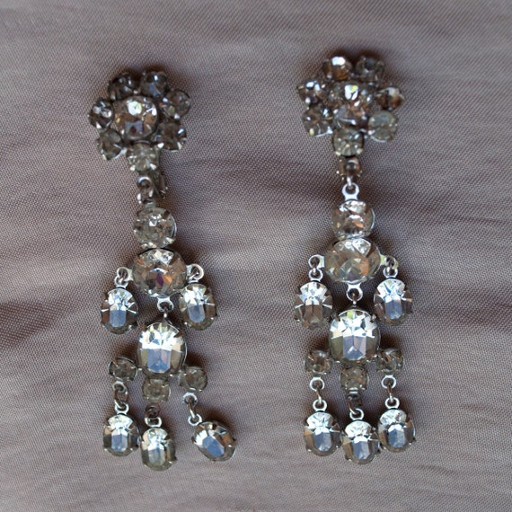 Vintage Rhinestone and Paste Silver Toned Dangle Earrings Wiesner