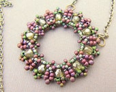 Beaded Loop Pendant in Lavender and Spring Green with Brass Chain