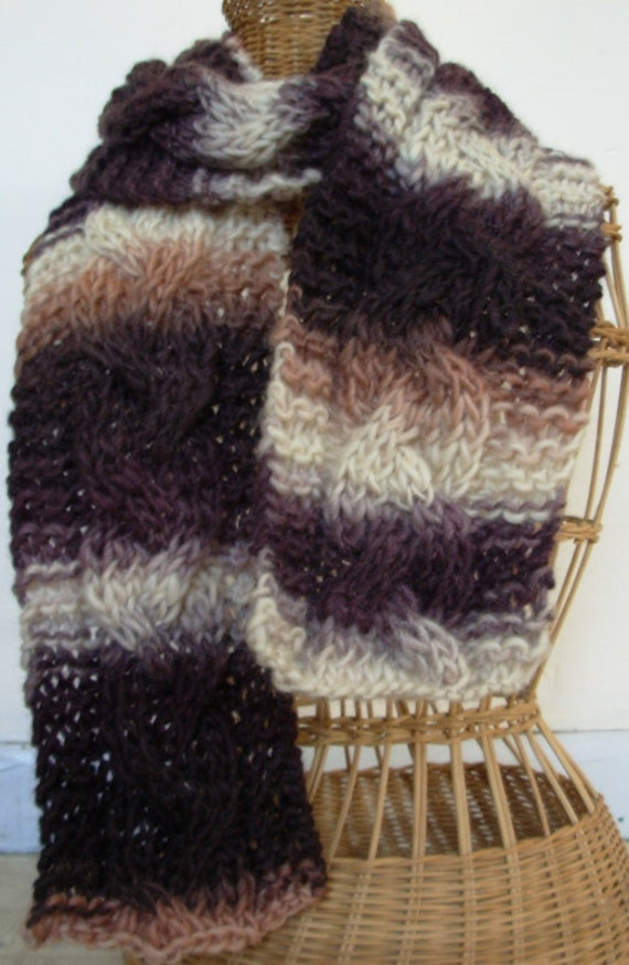 Chocolate Brown and Cream Varigated Braid Cabled Wool Scarf