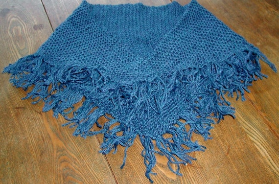 Deep Sea Blue Wool Fringed Triangle Scarf/Shawl