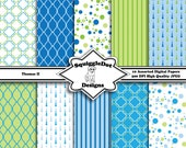 Digital Printable Scrapbook Paper for Cards, Crafts, Baby Showers and Art  Set of 10 - Thomas II - Instant Download