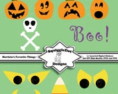 Digital Printable Halloween Clip Art Stickers for Cards, Invitations, Scrapbooking Set of 11 - Morticia's Favorite Things - Instant Download