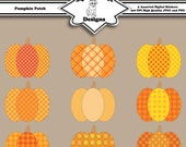 Digital Printable Clip Art Stickers for Cards, Invitations, Scrapbooking and other Crafts Set of 9 - Pumpkin Patch - Instant Download
