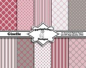 Digital Printable Paper for Cards, Crafts, Art and Scrapbooking Set of 10 - Giselle - Instant Download