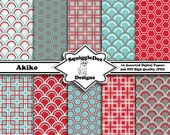 Digital Paper Printable for Cards, Crafts, Art and Scrapbooking Set of 10 - Akiko - Instant Download