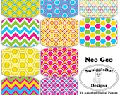Digital Paper Printable for Cards, Crafts, Art and Scrapbooking Set of 10 - Neo Geo - Instant Download