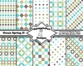 Digital Printable Scrapbook Paper for Cards, Crafts, Baby Showers and Art  Set of 10 - Ocean Spring II - Instant Download
