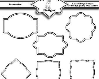 Printable Frame Clip Art Digital Scrapbook Embellishments for Cards, Crafts, Art and Scrapbooking Set of 6 - Frames One - Instant Download