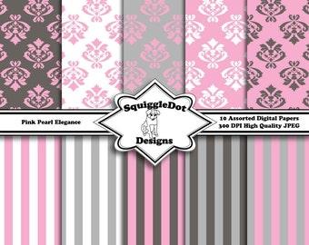 Digital Printable Paper for Cards, Crafts, Art and Scrapbooking Set of 10 - Pink Pearl Elegance - Instant Download