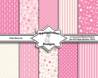 Digital Printable Paper for Cards, Crafts, Art and Scrapbooking Set of 10 - Pink Showers - Instant Download