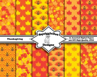 Digital Printable Paper for Cards, Crafts, Art and Scrapbooking Set of 12 - Thanksgiving - Instant Download