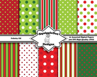Digital Printable Christmas Paper Paper for Cards, Crafts, Art and Scrapbooking Set of 10 - Felicity Elf - Instant Download