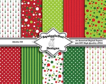 Digital Printable Christmas Paper Paper for Cards, Crafts, Art and Scrapbooking Set of 10 - Alysha Elf - Instant Download