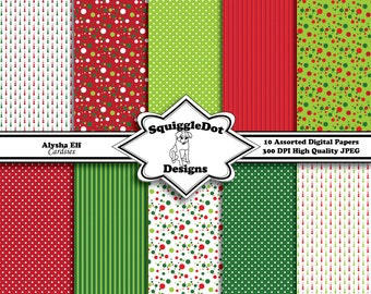 Digital Christmas Paper Made for Cards, Small Crafts, Art and Mini Scrapbook Albums Set of 10 - Alysha Elf Cardsies - Instant Download