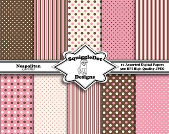 Digital Patterned Paper Designed for Cards, Small Crafts, Art and Mini Scrapbook Albums Set of 10 - Neapolitan Cardsies - Instant Download
