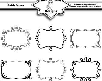 Printable Frame Clip Art for Digital Scrapbooking Embellishments for Cards, Crafts, Scrapbooks Set of 6 - Swirly Frames - Instant Download