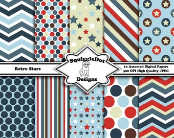 Digital Printable Paper for Cards, Crafts, Art and Scrapbooking Set of 10 - Retro Stars - Instant Download