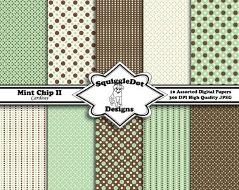 Digital Printable Scrapbook Paper for Cards, Small Crafts, Invitations and Mini Albums Set of 10 - Mint Chip II Cardsies - Instant Download