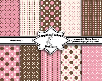 Digital Printable Paper for Cards, Crafts, Art and Scrapbooking Set of 10 - Neapolitan II - Instant Download