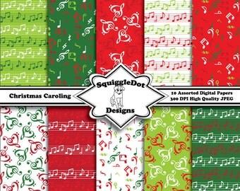 Printable Christmas Digital Scrapbook Paper for Cards, Crafts, Art and Scrapbooking Set of 10 - Christmas Caroling - Instant Download