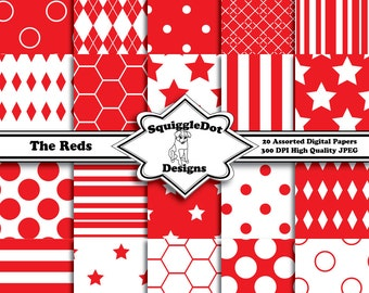 Digital Printable Paper for Cards, Crafts, Art and Scrapbooking Set of 20 - The Reds - Instant Download