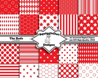 Digital Scrapbooking Paper Designed for Cards, Small Crafts, Invitations and Mini Albums Set of 20 - The Reds Cardsies - Instant Download