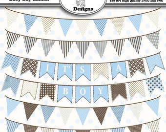 Printable Clip Art for Digital Scrapbooking for Cards, Crafts, Art and Scrapbooking Set of 6 - Baby Boy Banner - Instant Download