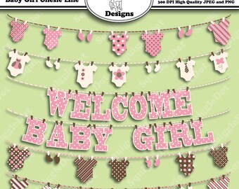 Printable Clip Art for Digital Scrapbooking for Cards, Crafts, Art and Scrapbooking Set of 6 - Baby Girl Onesie Line - Instant Download
