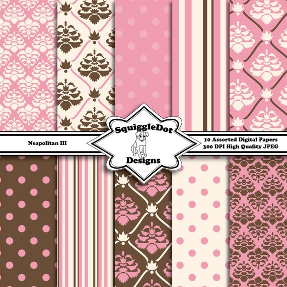 Scrapbooking Paper Digital and Printable for Cards, Crafts, Scrapbooks and Baby Showers Set of 10 - Neapolitan III - Instant Download
