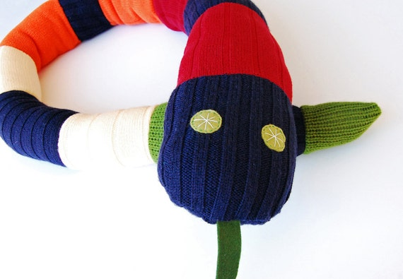 Upcycled Striped Sweater Snake - 5 Feet Long
