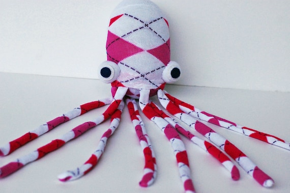 Pink Argyle Socktopus - Sock Animal