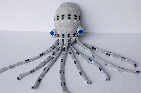 Sock Animal Toy - Spotted Gray Socktopus