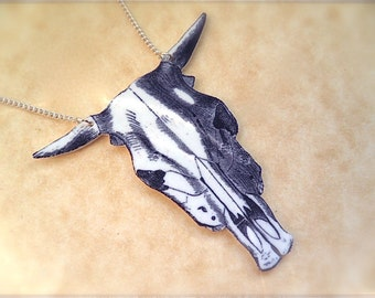 bull cow skull with horns illustration necklace