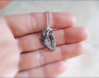 tiny anatomical human heart necklace with silver plated chain