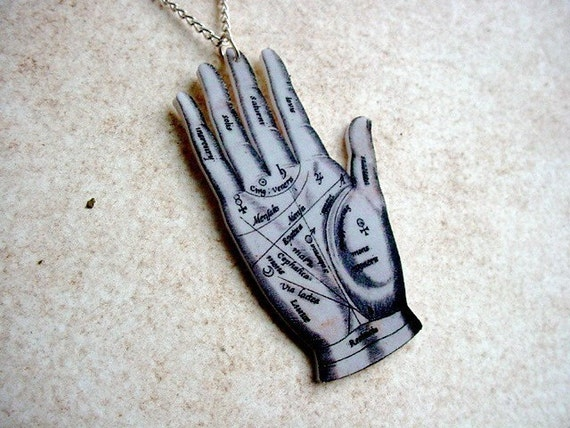 Palmistry Palm Reading Hand Necklace with Silver Chain
