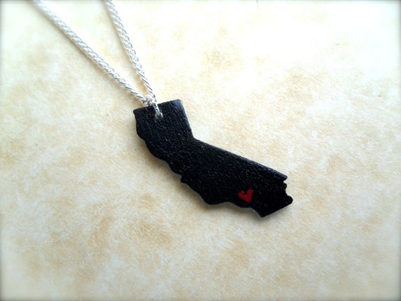 small state charm necklace