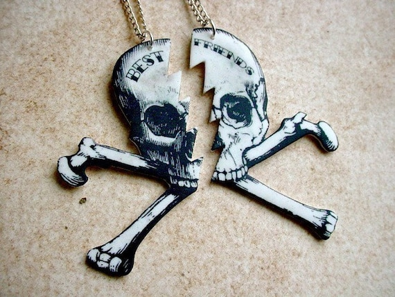 till death do you part best friends pirate skull necklaces