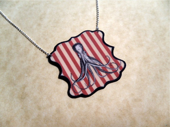 vaudeville circus octopus necklace with silver plated chain