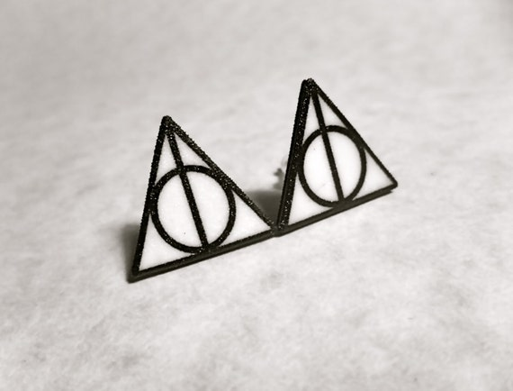 Deathly Hallows triangle circle symbol stud post earrings black and white