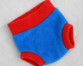 Small Super Hero (Anti-Pill) Fleece Diaper Cover/Diaper Soaker in Blue Red, Ready to Ship for Memorial Day July 4th