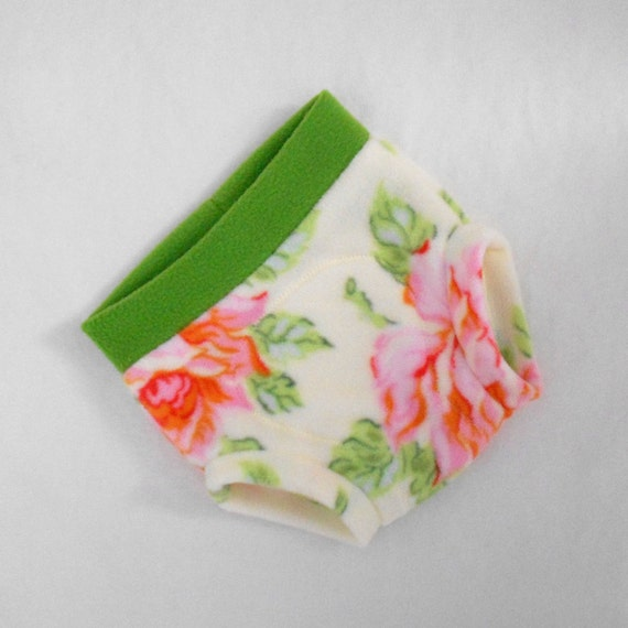 Large Soaker Nicey Jane Hello Roses Cream Micro Fleece Diaper Cover in Pink, Orange, Blue, Sage, Green, Ready to Ship Easter Spring