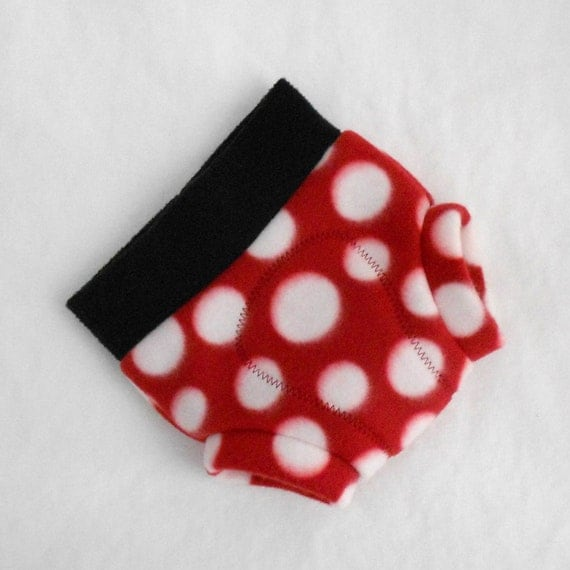 Small Mickey Mouse/Minnie Mouse Soaker Fleece Diaper Cover in Red, White Polka Dot, Black, Ready to Ship Disney