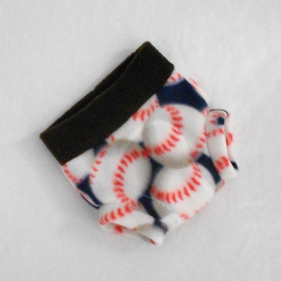 Small Fleece Soaker/Cloth Diaper Cover  in Baseball Blue with Bat Brown Trim, Ready to Ship for Baseball Season