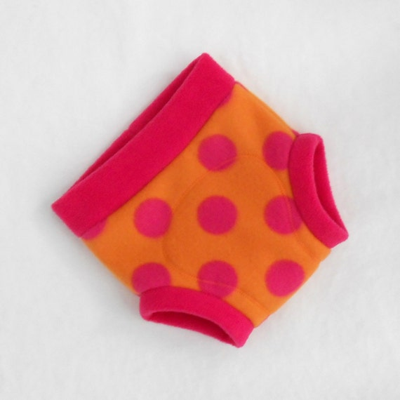 Large Polka Dot Fleece Soaker / Fitted Cloth Diaper Cover, Ready to Ship, Orange Pink Magenta