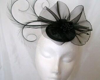 Black Feather Fascinator - Elegant Pheasant Curl Feather Crinoline Bow & Pearl Gothic Goth Wedding Mini Hat Headpiece Derby - Made to Order