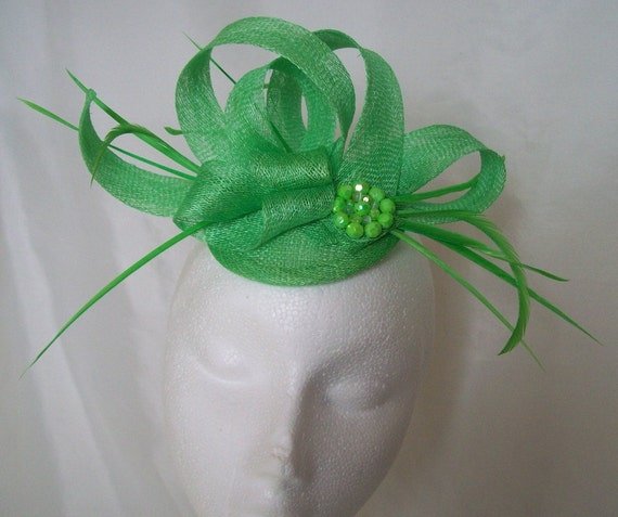 Bright Apple Lime Green Sinamay Loop & Crystal Cluster Wedding Fascinator Hat -  Ideal for a wedding or the Races